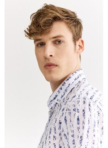 Avva Erkek  Baskılı Düğme YakaSlim Fit Gömlek A01Y2127 Beyaz